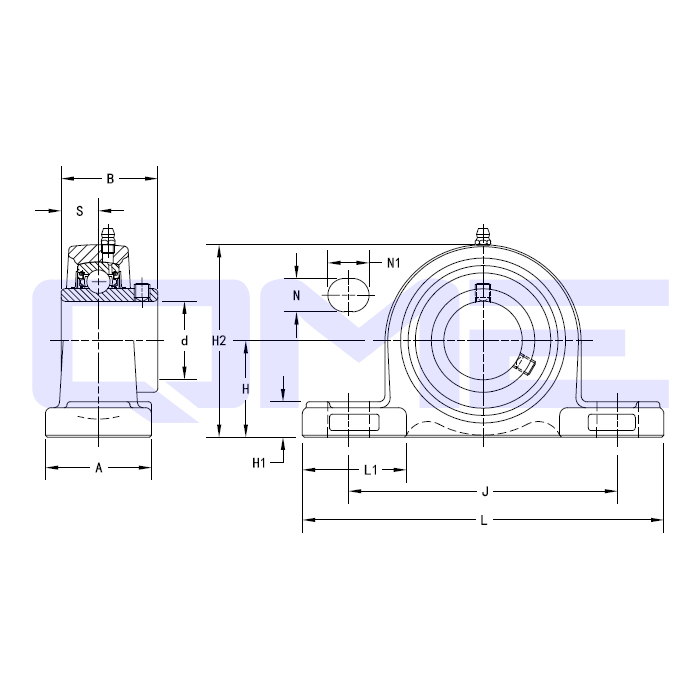 Housed Unit U Series UCP Line Drawing